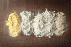 Composizione con differenti tipi di farine Fotografie Stock Libere da Diritti