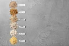 Composizione con differenti tipi di farine Fotografie Stock