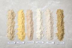 Composizione con differenti tipi di farine Fotografia Stock