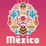 Composizione con gli elementi messicani di festa, buoni quadrati per la decorazione, l'aletta di filatoio ed il manifesto royalty illustrazione gratis