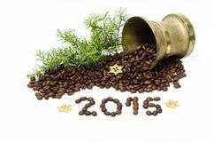 Composizione con i chicchi di caffè, 2015 in Natale Fotografie Stock Libere da Diritti