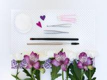 Composizione con i cosmetici ed i fiori di trucco Fotografie Stock