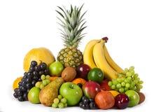 Composizione con i frutti isolata su fondo bianco Fotografia Stock Libera da Diritti