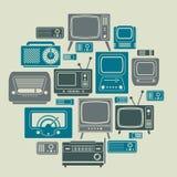Composizione con i simboli della TV Immagini Stock