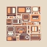 Composizione con i simboli della TV Fotografie Stock Libere da Diritti