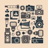 Composizione con i simboli di fotografia Fotografie Stock Libere da Diritti