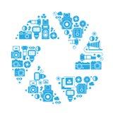Composizione con i simboli di fotografia Fotografie Stock