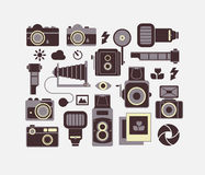 Composizione con i simboli di fotografia Immagini Stock Libere da Diritti