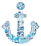 Composizione con i simboli di navigazione Fotografia Stock Libera da Diritti