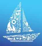 Composizione con i simboli di navigazione Fotografie Stock