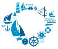 Composizione con i simboli di navigazione Fotografia Stock