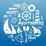 Composizione con i simboli di navigazione Fotografie Stock Libere da Diritti