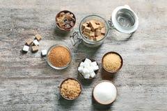 Composizione con i vari generi di zucchero immagini stock libere da diritti