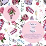 Composizione con il modello senza cuciture, mazzo dei flowes e delle foglie rosa, caramella, altri regali differenti e cerchio du illustrazione di stock