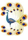Composizione con il pavone illustrazione di stock