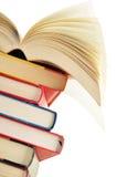 Composizione con la pila di libri su bianco Fotografia Stock Libera da Diritti