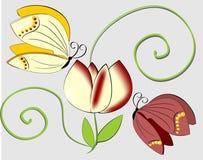 Composizione con le farfalle ed il fiore illustrazione vettoriale