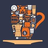Composizione con le siluette del caffè Fotografie Stock Libere da Diritti