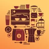 Composizione con le siluette del caffè Immagine Stock
