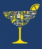 Composizione con le siluette del cocktail Fotografia Stock Libera da Diritti