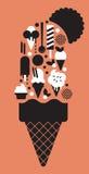 Composizione con le siluette del gelato Immagini Stock