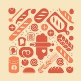 Composizione con le siluette del pane Fotografie Stock