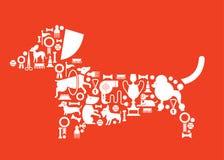 Composizione con le siluette dell'esposizione canina Fotografia Stock Libera da Diritti