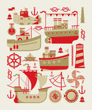 Composizione con le siluette della barca Fotografie Stock Libere da Diritti