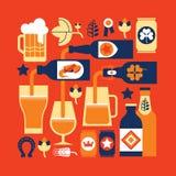 Composizione con le siluette della birra Fotografia Stock