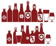 Composizione con le siluette della birra Immagini Stock Libere da Diritti