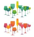 Composizione con le siluette della cristalleria dell'alcool Fotografia Stock Libera da Diritti