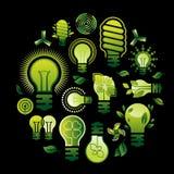 Composizione con le siluette della lampadina Fotografia Stock Libera da Diritti