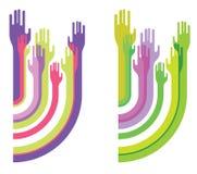 Composizione con le siluette delle mani Fotografie Stock Libere da Diritti