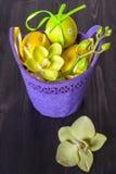 Composizione con le uova di Pasqua E le orchidee dei fiori Fotografie Stock Libere da Diritti