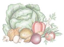 Composizione con le verdure royalty illustrazione gratis