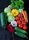 Composizione con le verdure organiche crude assortite Fotografie Stock