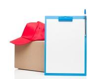 Composizione con lo spiritello malevolo e la scatola di cartone della lavagna per appunti Immagini Stock Libere da Diritti