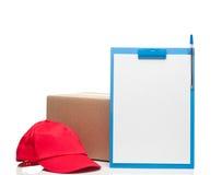 Composizione con lo spiritello malevolo e la scatola di cartone della lavagna per appunti Fotografia Stock Libera da Diritti