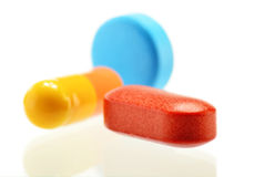 Composizione con varietà di pillole della droga Fotografia Stock Libera da Diritti