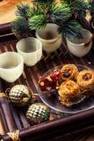 Composizione d'annata con le decorazioni di Natale Fotografia Stock