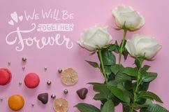 Composizione d'annata di giorno del ` s del biglietto di S. Valentino della st delle rose bianche, macarons immagini stock