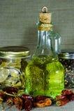 Composizione dai barattoli e dalla bottiglia Fotografia Stock