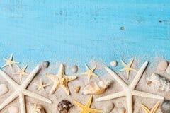 Composizione dalla conchiglia, dalle stelle marine e dalla sabbia sulla vista blu del piano d'appoggio Fotografia Stock