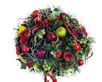 Composizione dalle mele, aerostati, rose Immagine Stock
