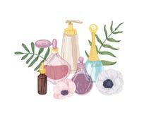 Composizione decorativa disegnata a mano elegante con profumo, acqua di toilette, olio essenziale fragrante in bottiglie di vetro illustrazione di stock