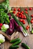 Composizione degli alimenti di varietà organica fresca delle verdure Immagine Stock