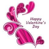 Composizione dei biglietti di S. Valentino dei cuori. illustrazione di stock