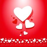 Composizione dei biglietti di S. Valentino dei cuori con spazio FO Immagine Stock Libera da Diritti