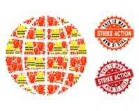 Composizione dei bolli del globo e di sciopero di protesta di Gilet Jaunes illustrazione di stock