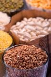 Composizione dei vetri con i cereali Fotografie Stock